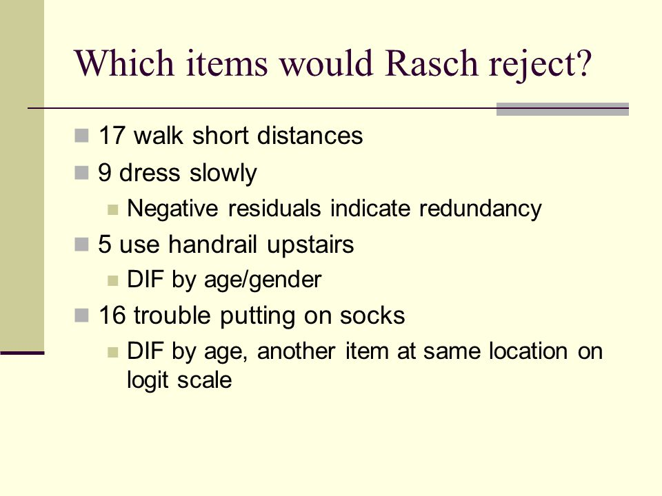 Which items would Rasch reject.