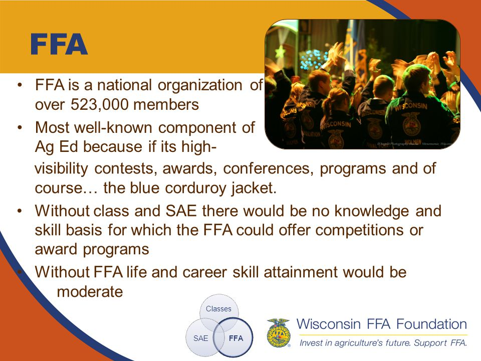 FFA FFA is a national organization of over 523,000 members Most well-known component of Ag Ed because if its high- Classes FFASAE visibility contests, awards, conferences, programs and of course… the blue corduroy jacket.