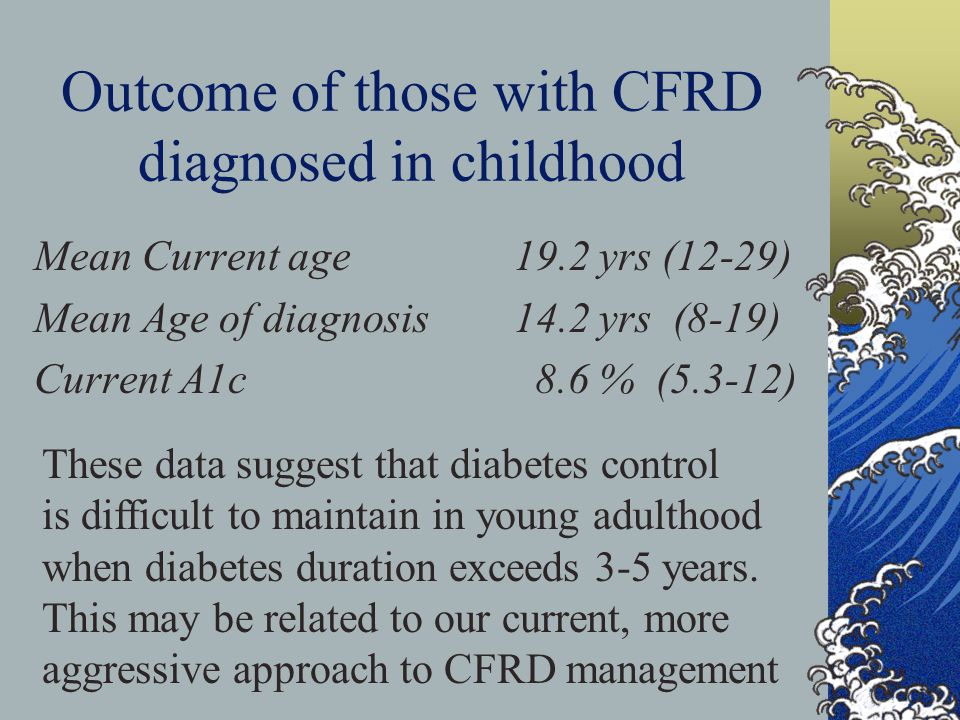 Outcome of those with CFRD diagnosed in childhood Mean Current age 19.2 yrs (12-29) Mean Age of diagnosis14.2 yrs (8-19) Current A1c 8.6 % (5.3-12) These data suggest that diabetes control is difficult to maintain in young adulthood when diabetes duration exceeds 3-5 years.