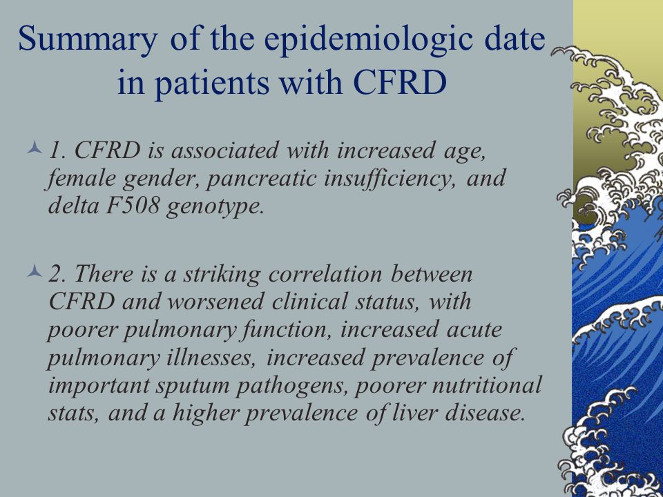 Summary of the epidemiologic date in patients with CFRD 1.