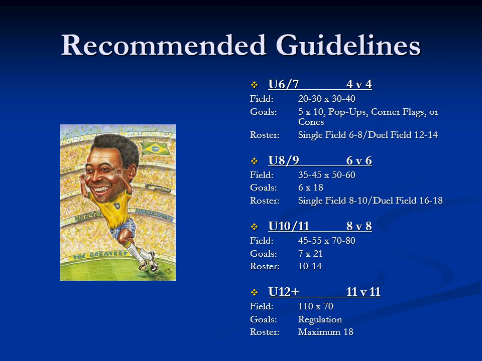 Recommended Guidelines  U6/74 v 4 Field: 20-30 x 30-40 Goals:5 x 10, Pop-Ups, Corner Flags, or Cones Roster:Single Field 6-8/Duel Field 12-14  U8/96