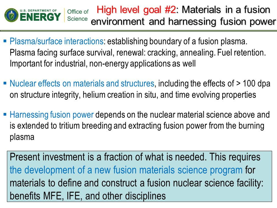 -A leading challenge for fusion, and an opportunity for the U.S., pertains to understanding and controlling -the processes beyond the last closed flux surface, including the open field line plasma physics, the plasma/material science governing the plasma-surface interactions, and how these processes couple to define the closed flux surface boundary, and -the nuclear science related to structural evolution, integrity, and harnessing fusion power -The coupling of these non-nuclear and nuclear elements -This represents a major, leading challenge for the field, an opportunity for U.S.