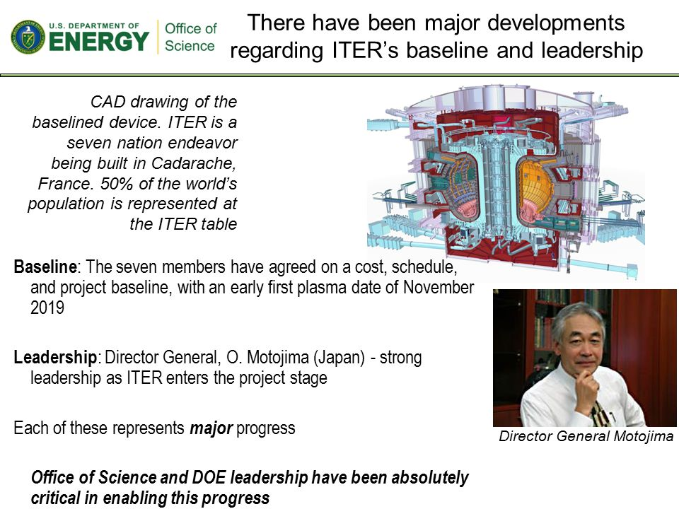 There have been major developments regarding ITER's baseline and leadership CAD drawing of the baselined device.