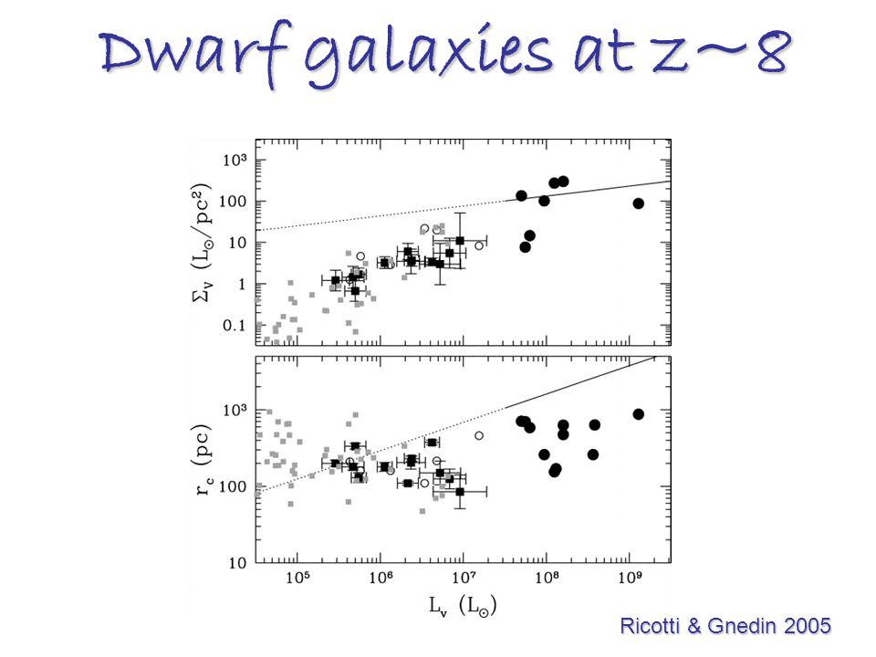 Dwarf galaxies at z~8 Ricotti & Gnedin 2005 Ricotti & Gnedin 2005