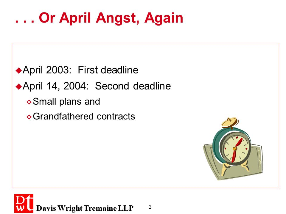 2... Or April Angst, Again  April 2003: First deadline  April 14, 2004: Second deadline  Small plans and  Grandfathered contracts  April 2003: Fi