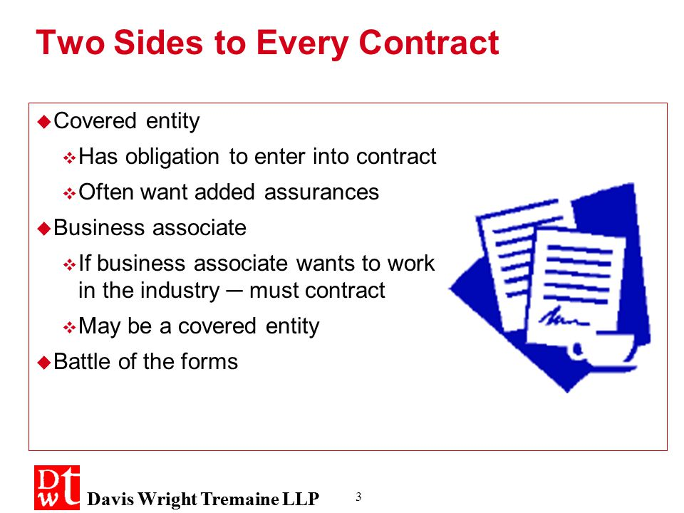 Davis Wright Tremaine LLP 3 Two Sides to Every Contract  Covered entity  Has obligation to enter into contract  Often want added assurances  Business associate  If business associate wants to work in the industry ─ must contract  May be a covered entity  Battle of the forms  Covered entity  Has obligation to enter into contract  Often want added assurances  Business associate  If business associate wants to work in the industry ─ must contract  May be a covered entity  Battle of the forms