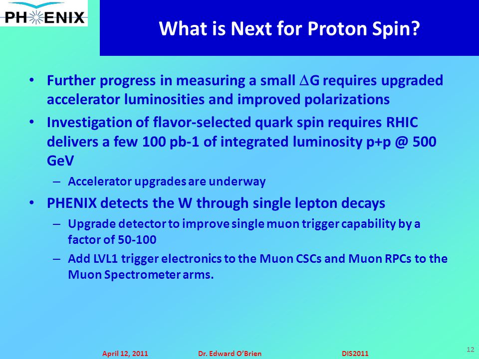 April 12, 2011Dr. Edward O'BrienDIS2011 12 What is Next for Proton Spin.