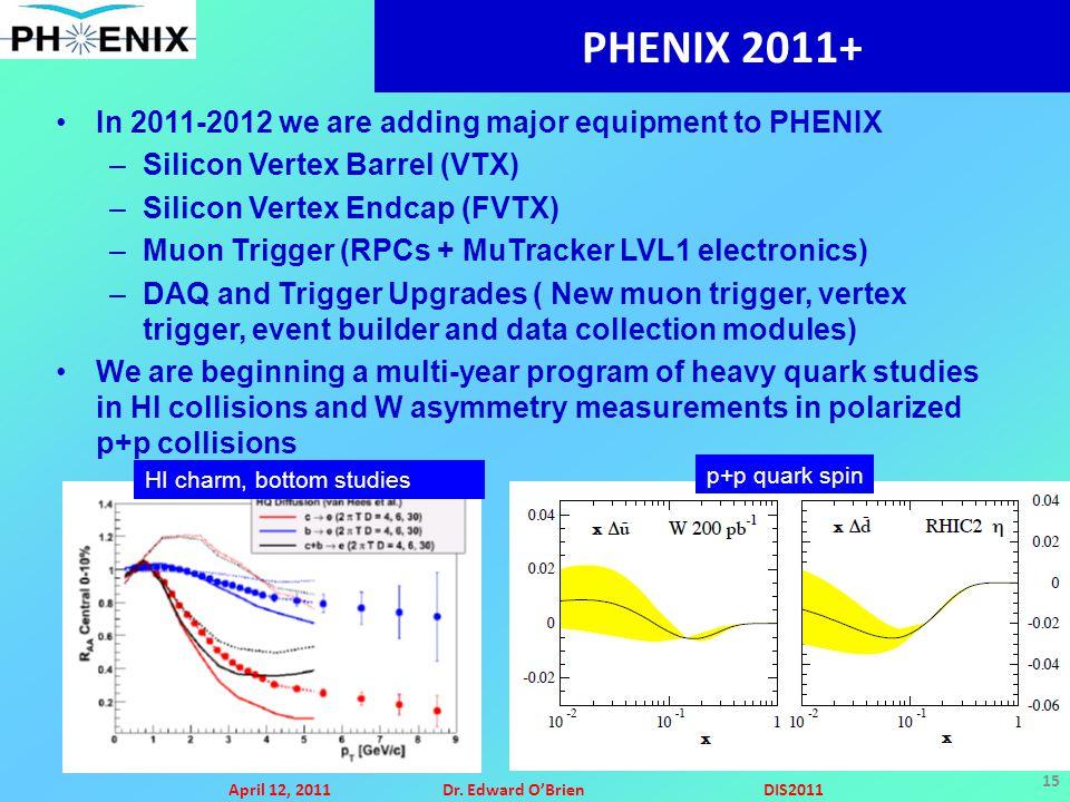 April 12, 2011Dr. Edward O'BrienDIS2011 15 PHENIX 2011+ In 2011-2012 we are adding major equipment to PHENIX –Silicon Vertex Barrel (VTX) –Silicon Ver
