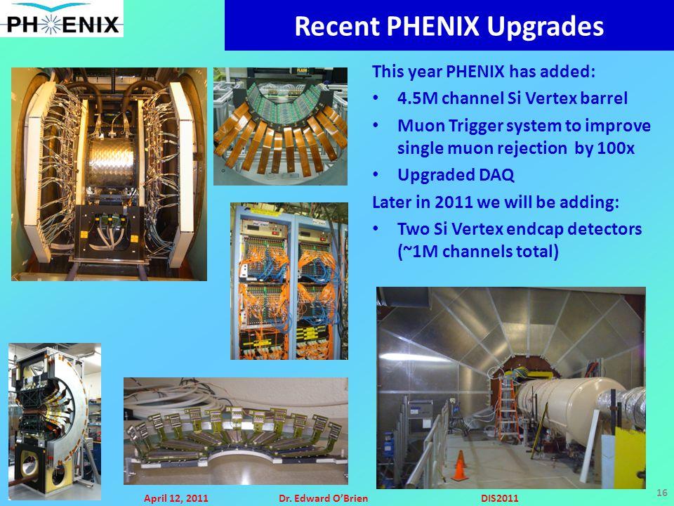 April 12, 2011Dr. Edward O'BrienDIS2011 16 Recent PHENIX Upgrades This year PHENIX has added: 4.5M channel Si Vertex barrel Muon Trigger system to imp