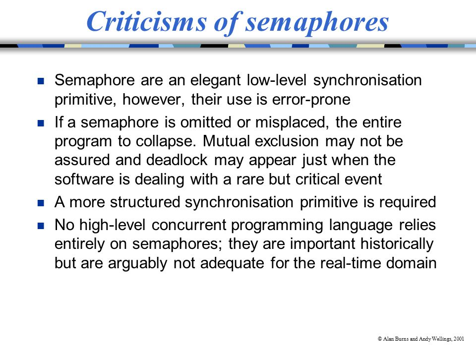 © Alan Burns and Andy Wellings, 2001 Criticisms of semaphores n Semaphore are an elegant low-level synchronisation primitive, however, their use is error-prone n If a semaphore is omitted or misplaced, the entire program to collapse.