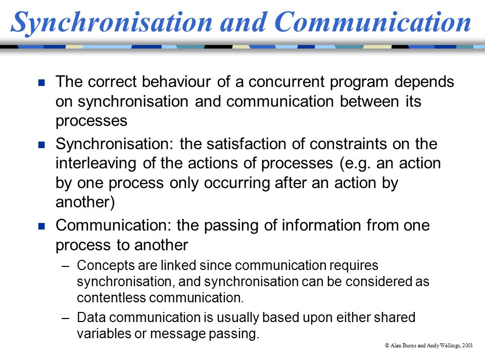 © Alan Burns and Andy Wellings, 2001 Synchronisation and Communication n The correct behaviour of a concurrent program depends on synchronisation and communication between its processes n Synchronisation: the satisfaction of constraints on the interleaving of the actions of processes (e.g.