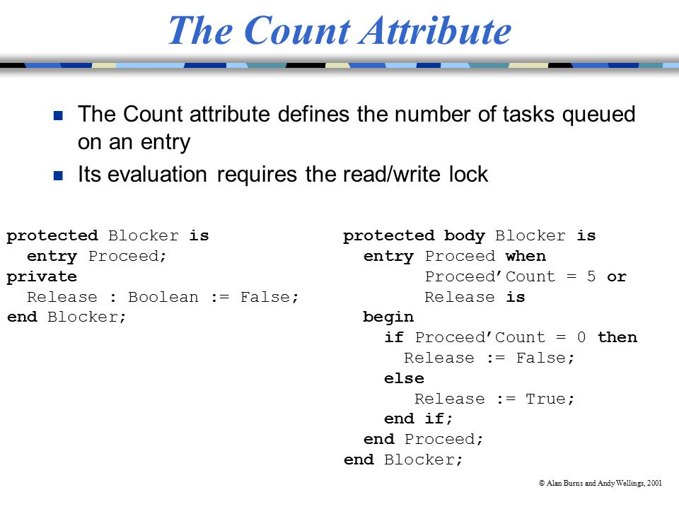 © Alan Burns and Andy Wellings, 2001 The Count Attribute n The Count attribute defines the number of tasks queued on an entry n Its evaluation requires the read/write lock protected Blocker is entry Proceed; private Release : Boolean := False; end Blocker; protected body Blocker is entry Proceed when Proceed'Count = 5 or Release is begin if Proceed'Count = 0 then Release := False; else Release := True; end if; end Proceed; end Blocker;