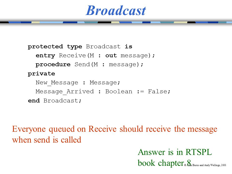 © Alan Burns and Andy Wellings, 2001 Broadcast protected type Broadcast is entry Receive(M : out message); procedure Send(M : message); private New_Message : Message; Message_Arrived : Boolean := False; end Broadcast; Everyone queued on Receive should receive the message when send is called Answer is in RTSPL book chapter 8