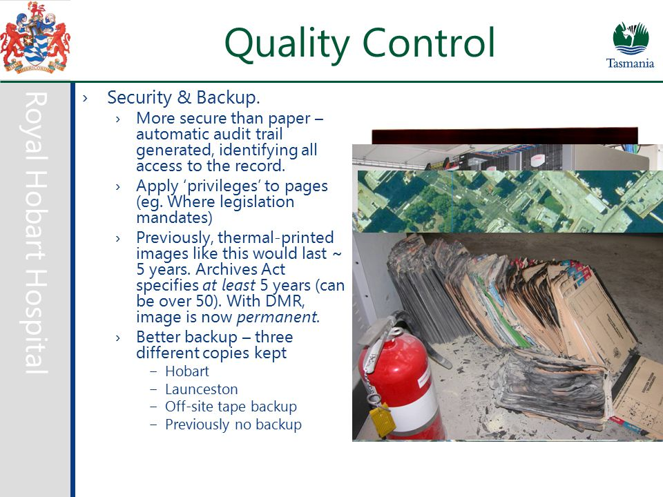 Royal Hobart Hospital Quality Control ›Security & Backup.