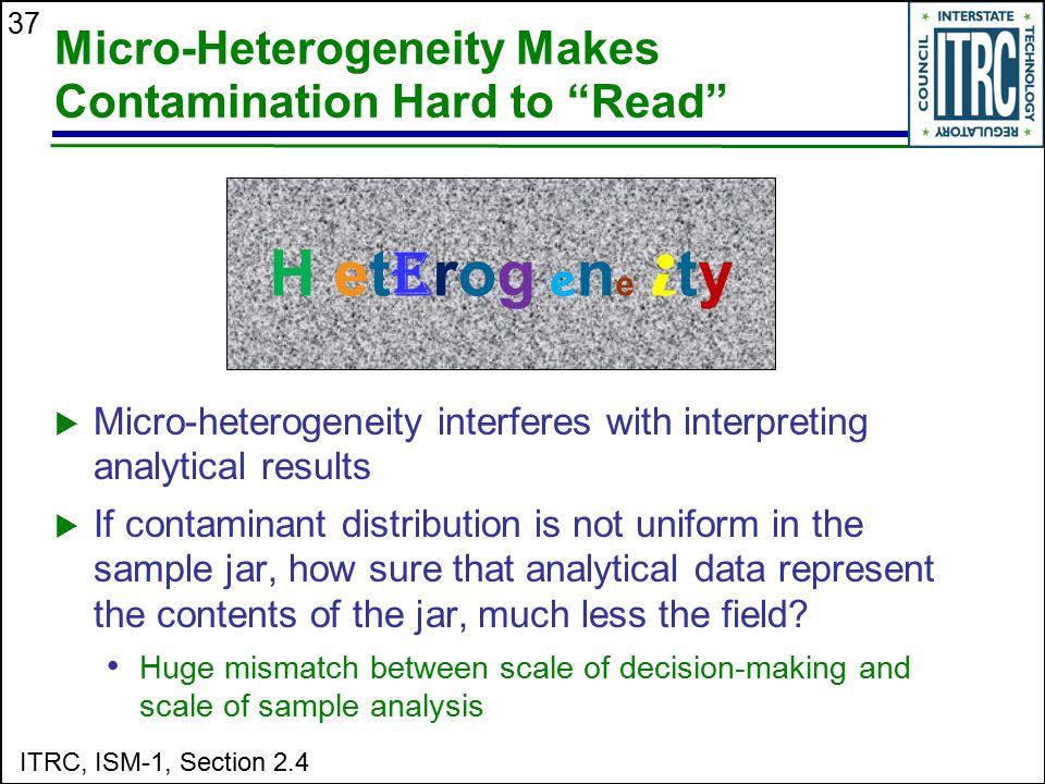 "37 Micro-Heterogeneity Makes Contamination Hard to ""Read"" H et e rog e n e i ty  Micro-heterogeneity interferes with interpreting analytical results"