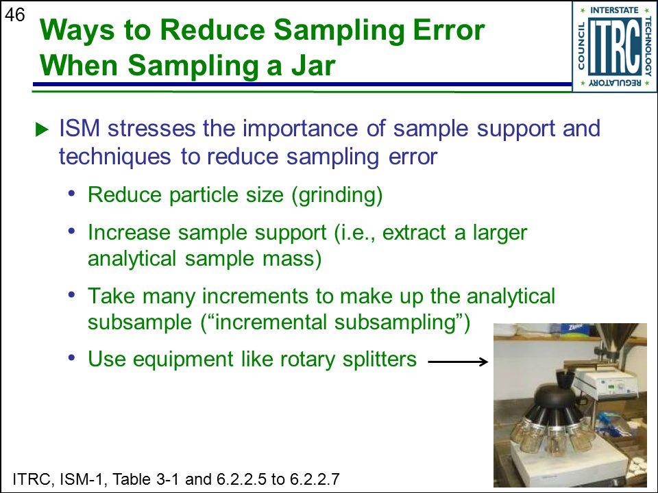 46 Ways to Reduce Sampling Error When Sampling a Jar  ISM stresses the importance of sample support and techniques to reduce sampling error Reduce pa