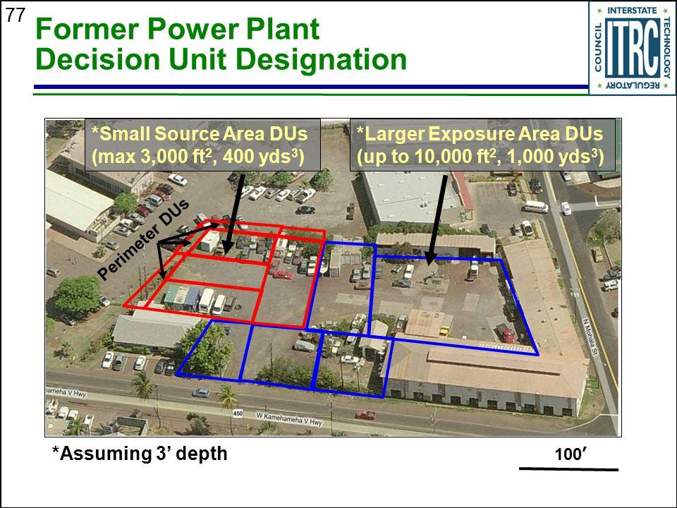 77 Former Power Plant Decision Unit Designation 100 ' *Assuming 3' depth *Small Source Area DUs (max 3,000 ft 2, 400 yds 3 ) *Larger Exposure Area DUs