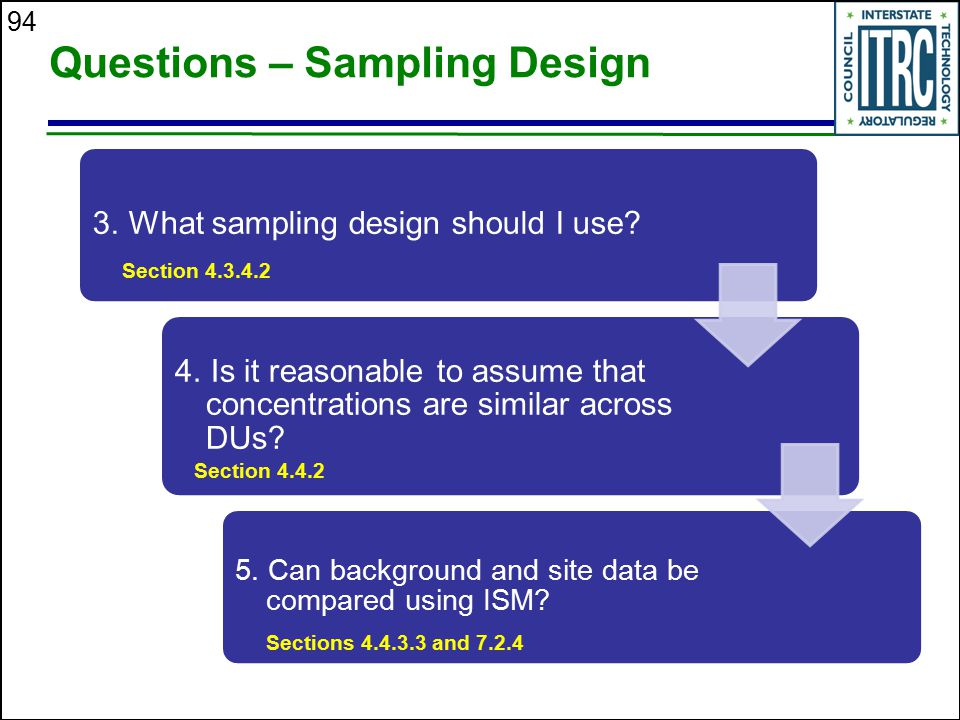 94 Questions – Sampling Design 3. What sampling design should I use? 4. Is it reasonable to assume that concentrations are similar across DUs? 5. Can