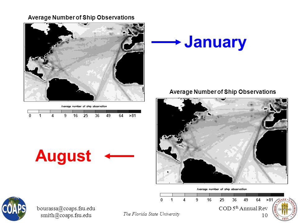 bourassa@coaps.fsu.edu smith@coaps.fsu.edu The Florida State University COD 5 th Annual Rev 10 0 1 4 9 16 25 36 49 64 >81 January August Average Number of Ship Observations