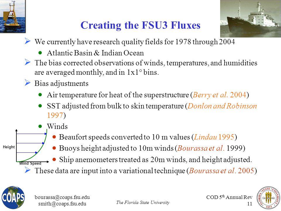 bourassa@coaps.fsu.edu smith@coaps.fsu.edu The Florida State University COD 5 th Annual Rev 11 Creating the FSU3 Fluxes  Beaufort speeds converted to 10 m values (Lindau 1995)  Buoys height adjusted to 10m winds (Bourassa et al.