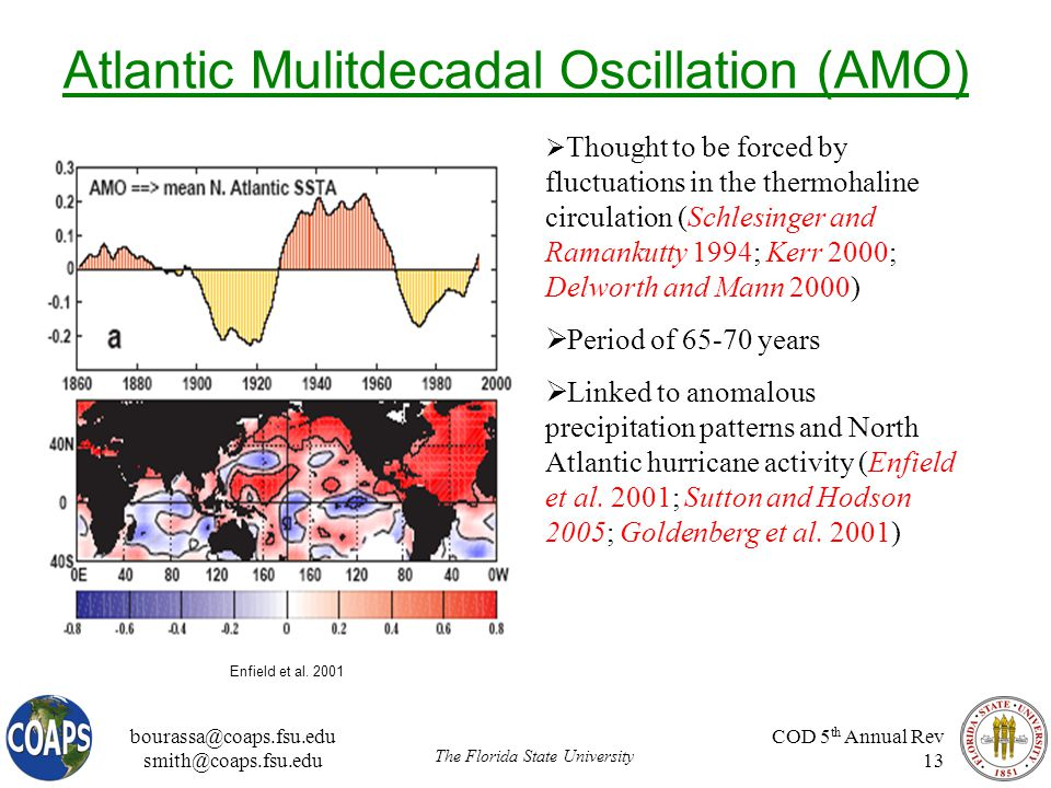 bourassa@coaps.fsu.edu smith@coaps.fsu.edu The Florida State University COD 5 th Annual Rev 13 Atlantic Mulitdecadal Oscillation (AMO)  Thought to be forced by fluctuations in the thermohaline circulation (Schlesinger and Ramankutty 1994; Kerr 2000; Delworth and Mann 2000)  Period of 65-70 years  Linked to anomalous precipitation patterns and North Atlantic hurricane activity (Enfield et al.