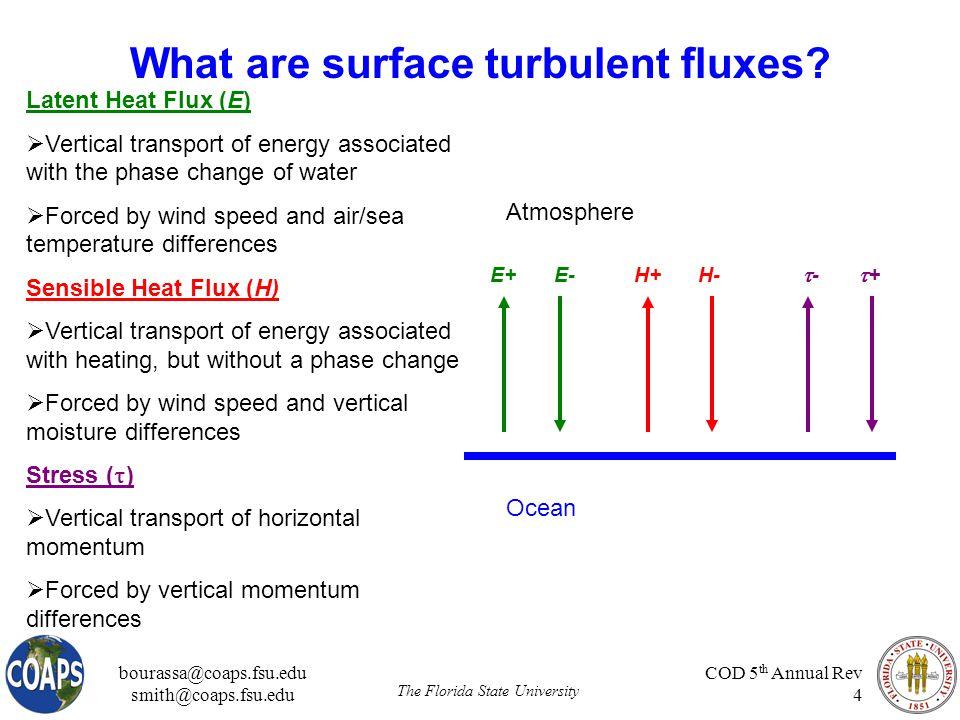 bourassa@coaps.fsu.edu smith@coaps.fsu.edu The Florida State University COD 5 th Annual Rev 4 What are surface turbulent fluxes.