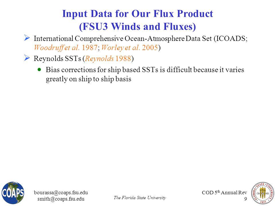 bourassa@coaps.fsu.edu smith@coaps.fsu.edu The Florida State University COD 5 th Annual Rev 9 Input Data for Our Flux Product (FSU3 Winds and Fluxes)  International Comprehensive Ocean-Atmosphere Data Set (ICOADS; Woodruff et al.