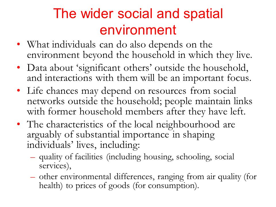 The wider social and spatial environment What individuals can do also depends on the environment beyond the household in which they live.