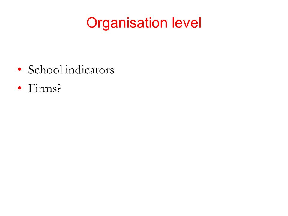 Organisation level School indicators Firms?