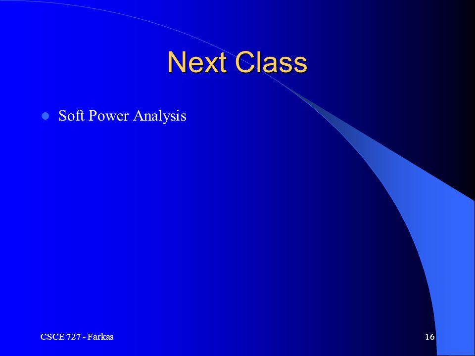 Soft Power Analysis CSCE 727 - Farkas16 Next Class
