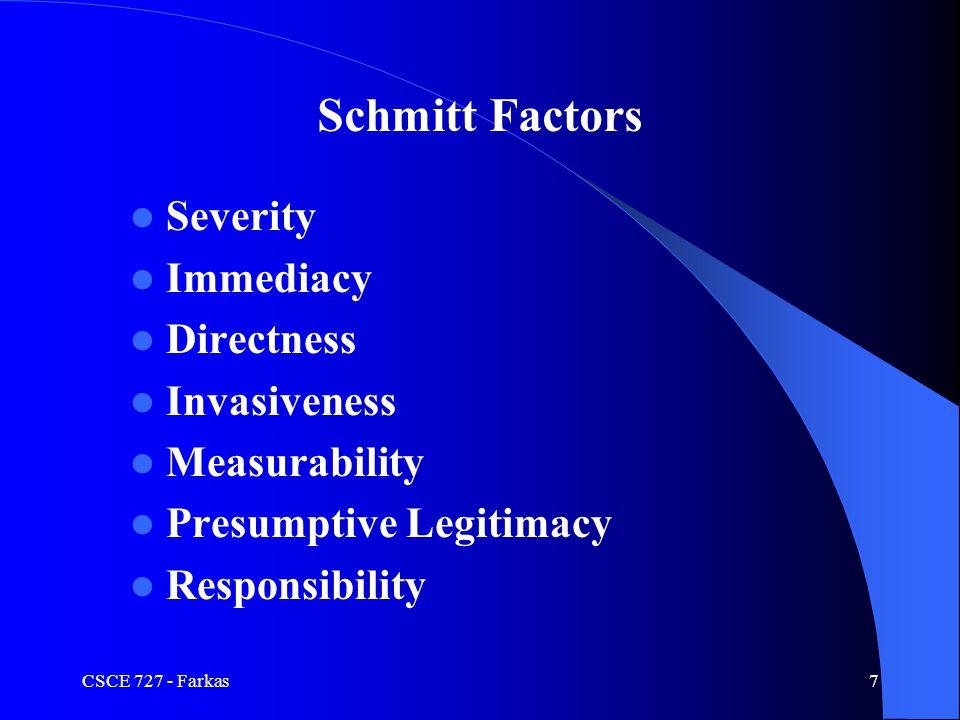 CSCE 727 - Farkas7 Severity Immediacy Directness Invasiveness Measurability Presumptive Legitimacy Responsibility Schmitt Factors