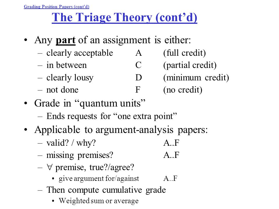 Grading Position Papers (cont'd) The Triage Theory (cont'd) Any part of an assignment is either: –clearly acceptableA(full credit) –in betweenC(partial credit) –clearly lousyD(minimum credit) –not doneF(no credit) Grade in quantum units –Ends requests for one extra point Applicable to argument-analysis papers: –valid.