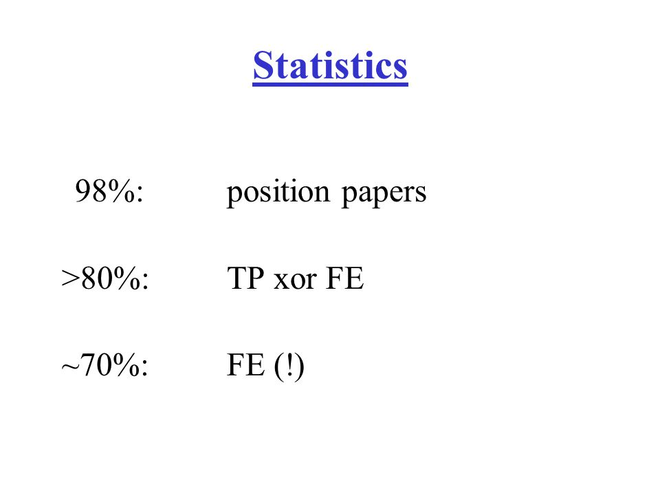 Statistics 98%: position papers >80%:TP xor FE ~70%:FE (!)
