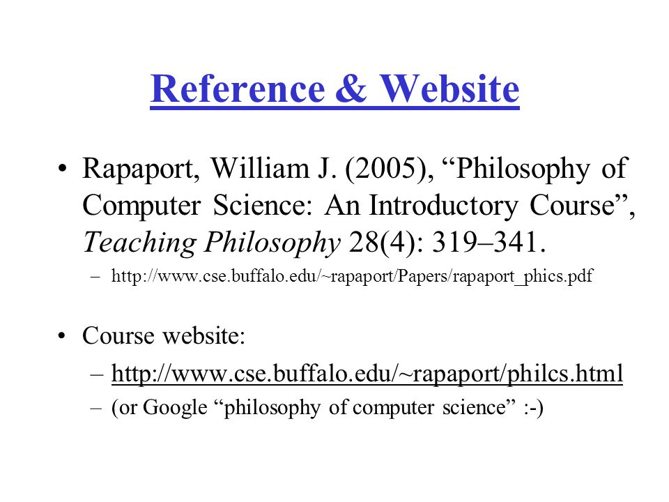 Reference & Website Rapaport, William J.