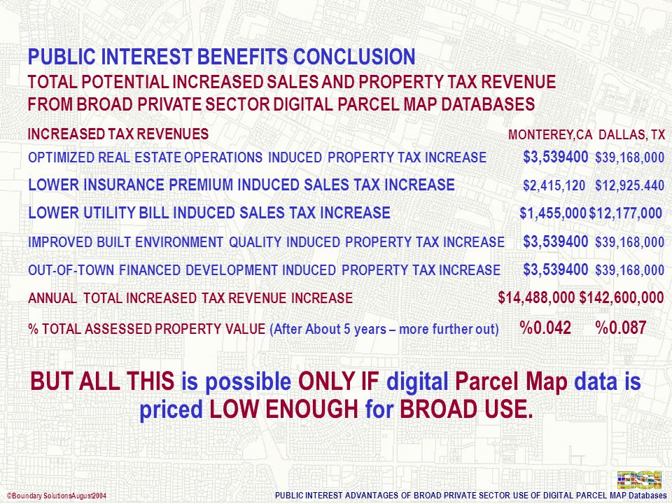 PUBLIC INTEREST ADVANTAGES OF BROAD PRIVATE SECTOR USE OF DIGITAL PARCEL MAP Databases ©Boundary SolutionsAugust2004 Ratio Additional Capital Projects