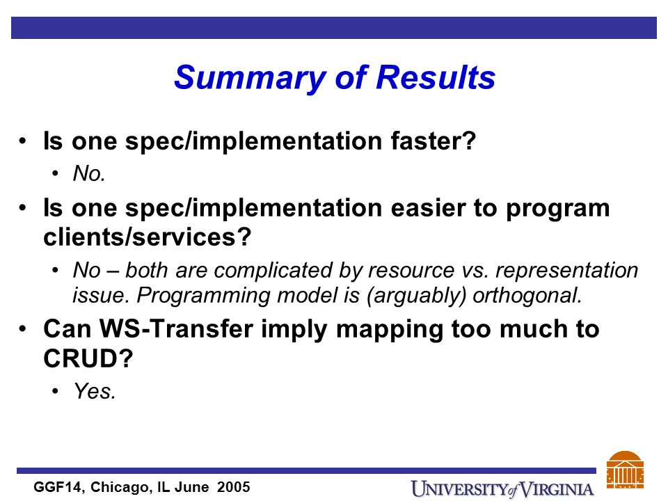 GGF14, Chicago, IL June 2005 Summary of Results Is one spec/implementation faster.
