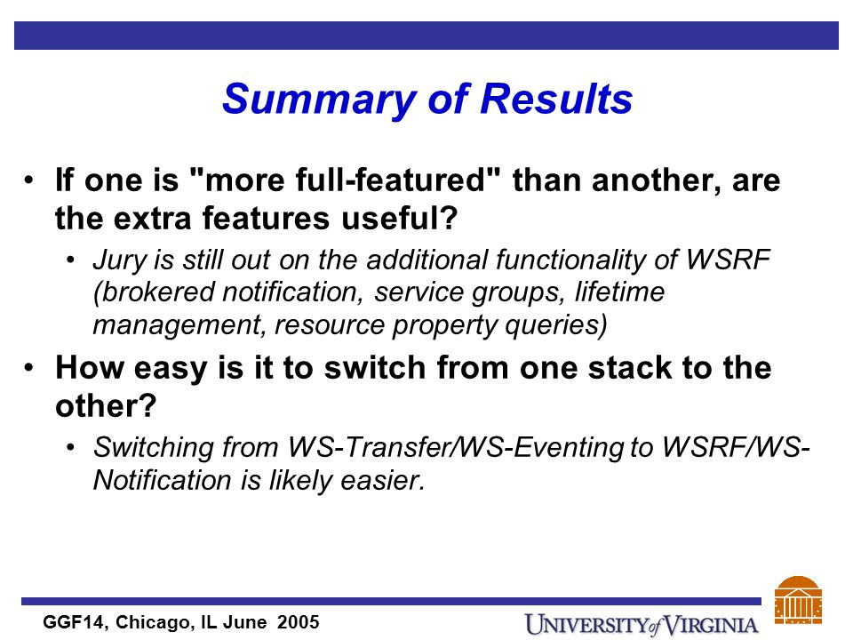 GGF14, Chicago, IL June 2005 Summary of Results If one is more full-featured than another, are the extra features useful.