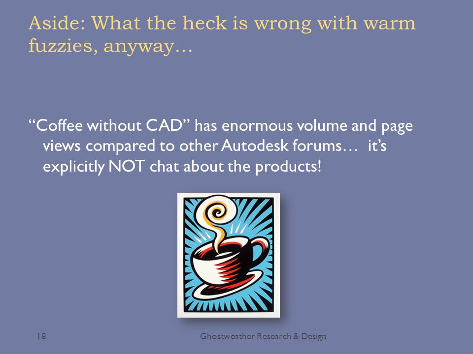 """Aside: What the heck is wrong with warm fuzzies, anyway… Ghostweather Research & Design18 """"Coffee without CAD"""" has enormous volume and page views comp"""