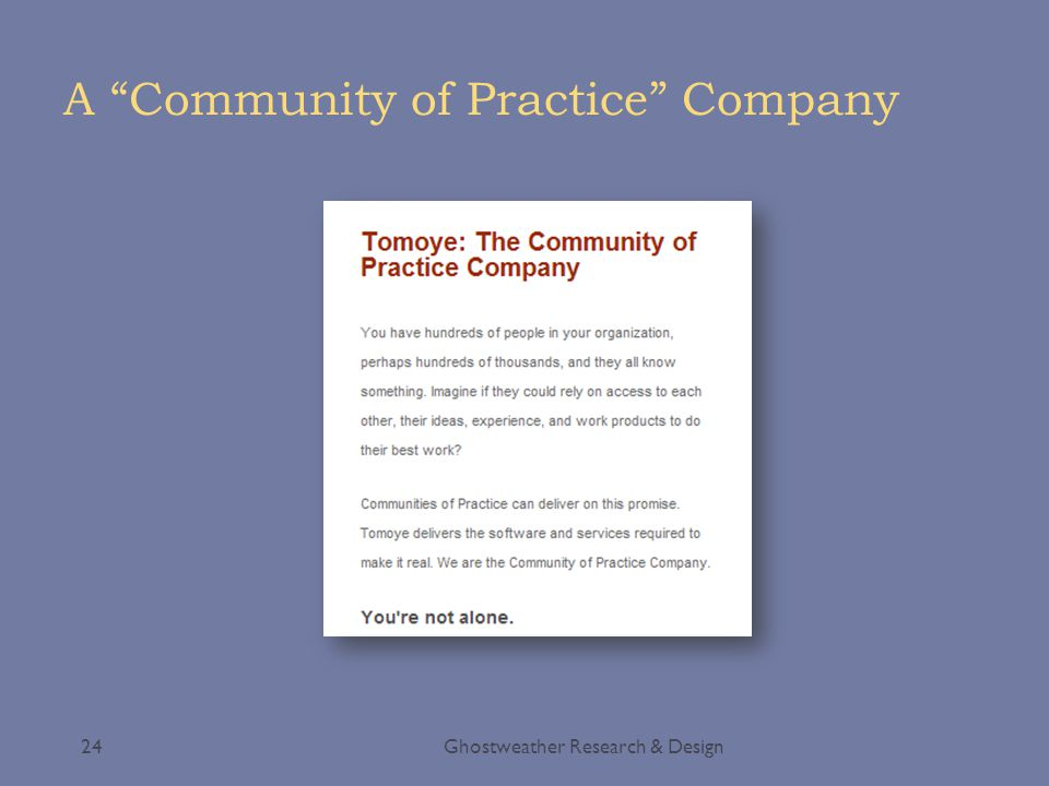 """A """"Community of Practice"""" Company Ghostweather Research & Design24"""