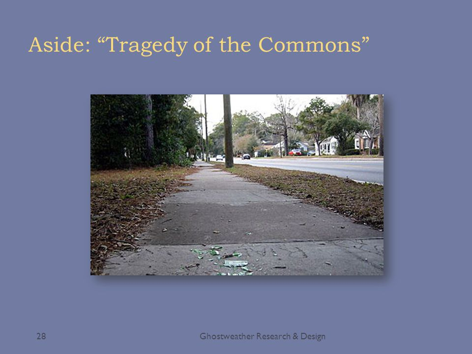 Aside: Tragedy of the Commons Ghostweather Research & Design28