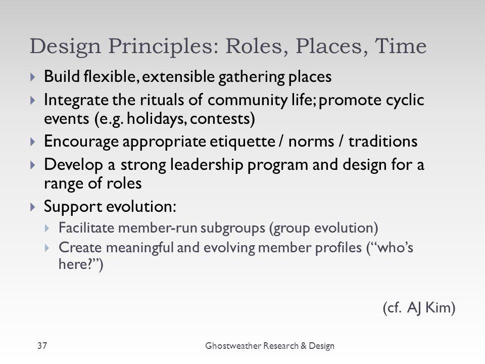 Design Principles: Roles, Places, Time Ghostweather Research & Design  Build flexible, extensible gathering places  Integrate the rituals of communi