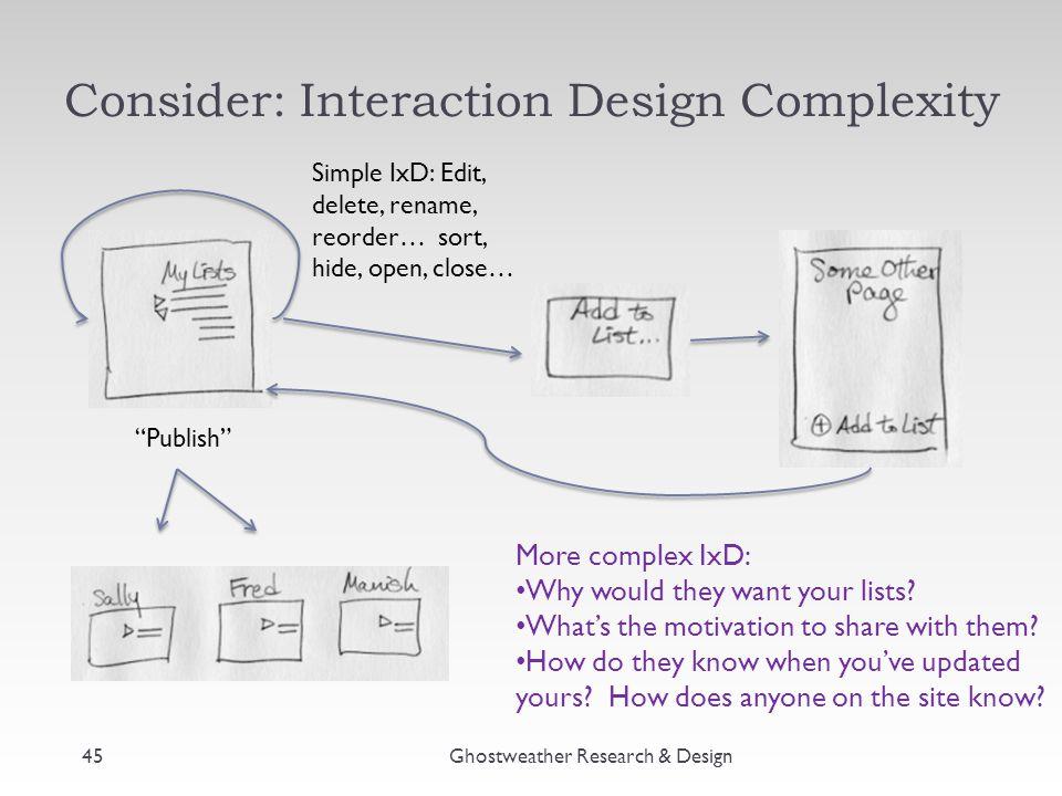"Consider: Interaction Design Complexity Ghostweather Research & Design45 ""Publish"" Simple IxD: Edit, delete, rename, reorder… sort, hide, open, close…"