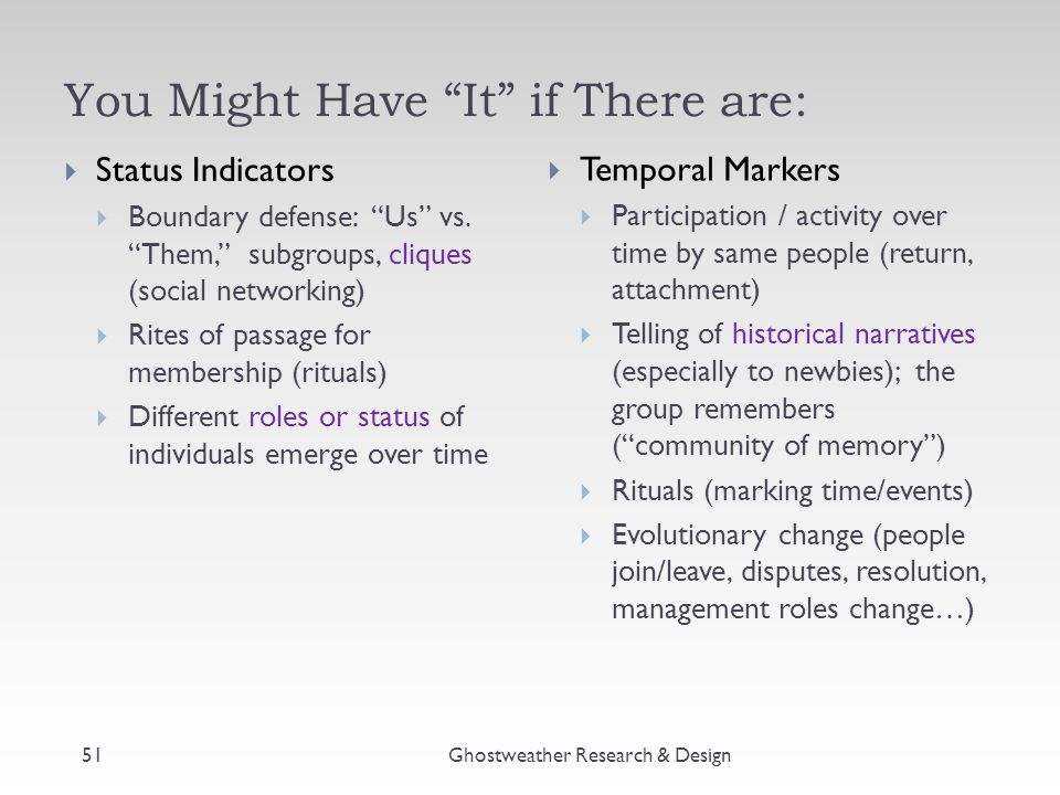 """You Might Have """"It"""" if There are: Ghostweather Research & Design51  Status Indicators  Boundary defense: """"Us"""" vs. """"Them,"""" subgroups, cliques (social"""