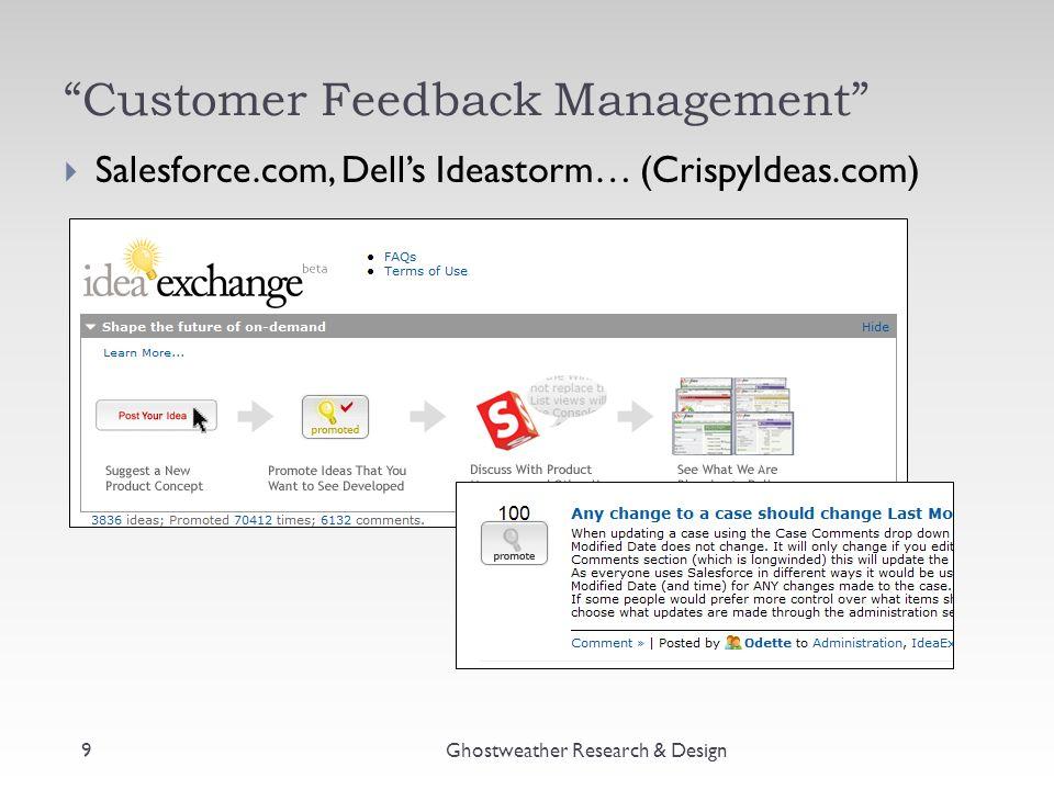 """Customer Feedback Management"" Ghostweather Research & Design9  Salesforce.com, Dell's Ideastorm… (CrispyIdeas.com)"