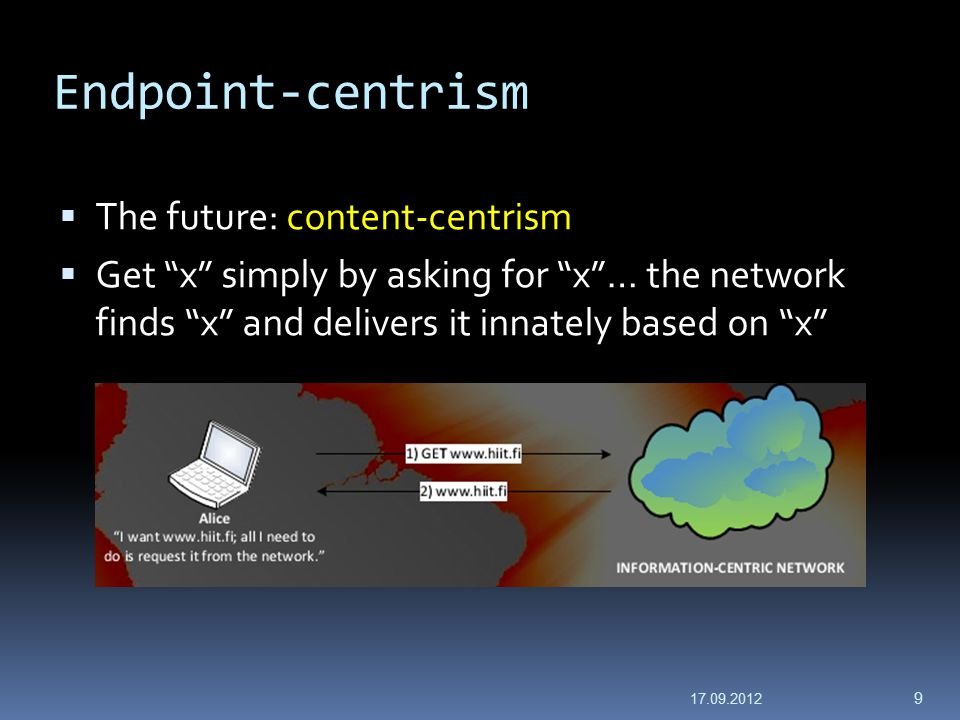 Endpoint-centrism  The future: content-centrism  Get x simply by asking for x … the network finds x and delivers it innately based on x 17.09.2012 9