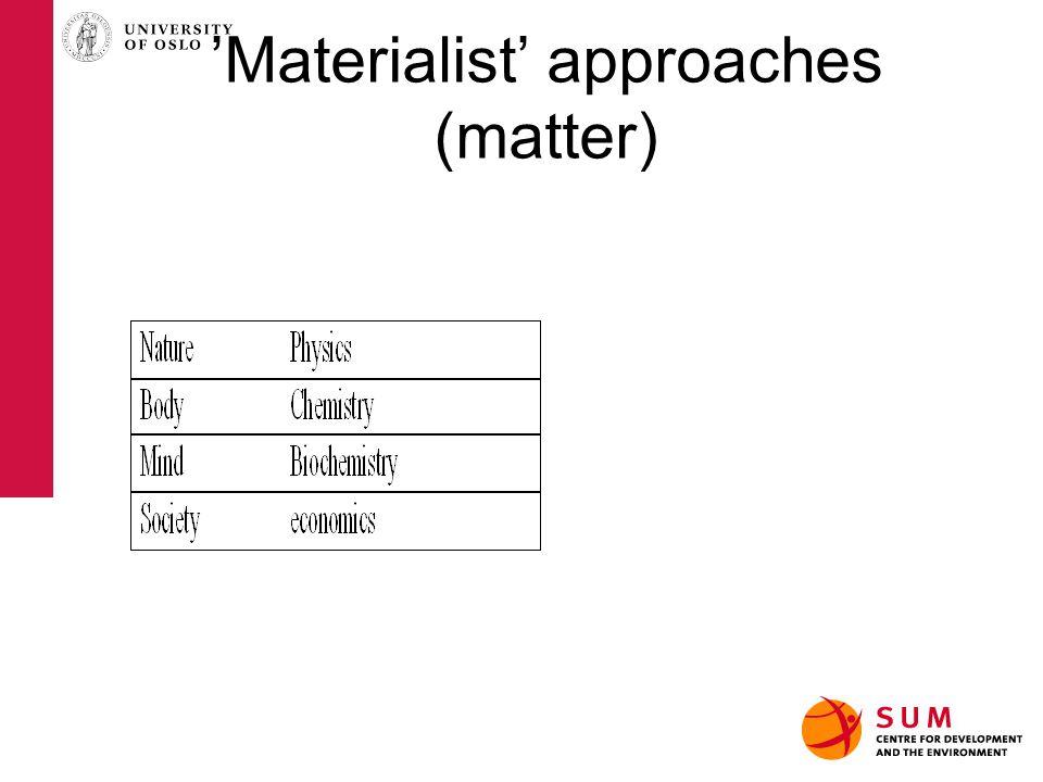 'Materialist' approaches (matter)