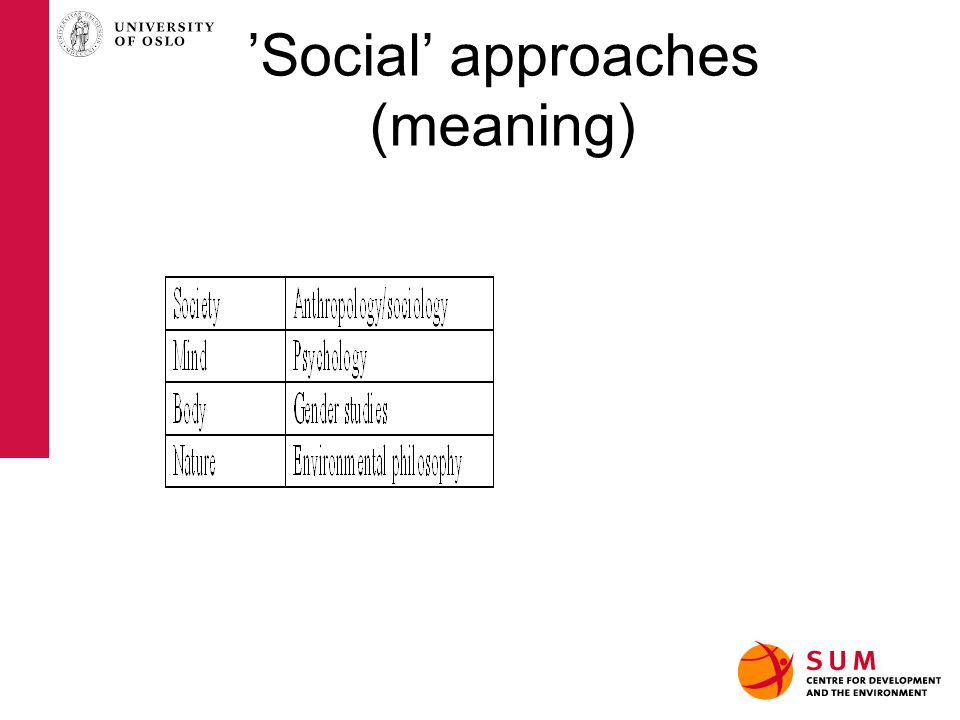 'Social' approaches (meaning)