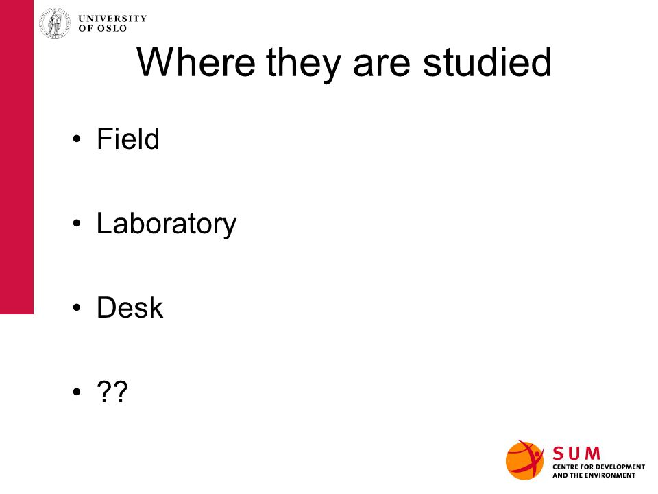 Where they are studied Field Laboratory Desk ??