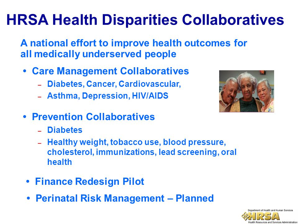 A national effort to improve health outcomes for all medically underserved people HRSA Health Disparities Collaboratives Care Management Collaborative