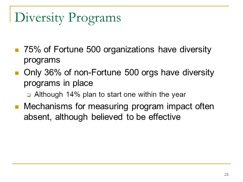 28 Diversity Programs 75% of Fortune 500 organizations have diversity programs Only 36% of non-Fortune 500 orgs have diversity programs in place  Although 14% plan to start one within the year Mechanisms for measuring program impact often absent, although believed to be effective